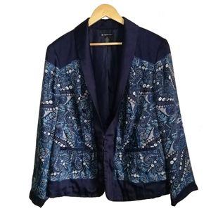 INC Blue Paisley Classic Silky Blazer, size 3X